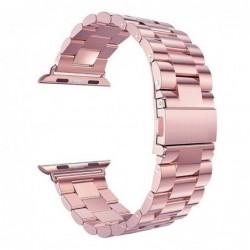 Curea metalica compatibila cu Apple Watch, 42mm, Pink/Rose