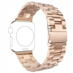 Curea metalica compatibila Apple Watch, 42mm, Auriu-Roz