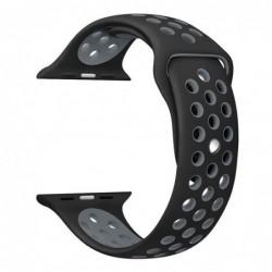 Curea silicon, compatibila Apple Watch, 42mm, Negru-Gri