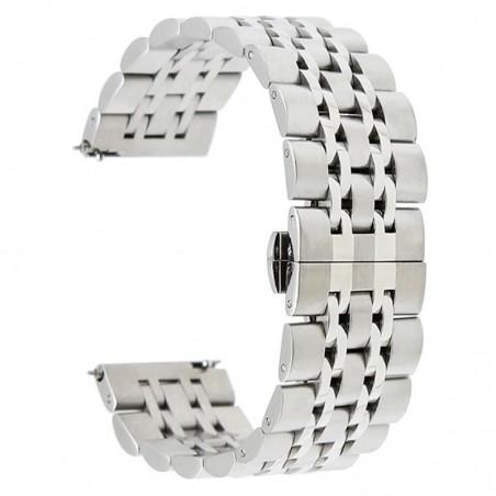Curea metalica compatibila Samsung Galaxy Watch 46mm, telescoape Quick Release, 18.5cm, Argintiu