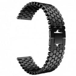 Curea din metal compatibila Ticwatch E, 20mm, Negru Lucios