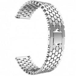 Curea din metal compatibila Ticwatch E, 20mm, Argintiu...