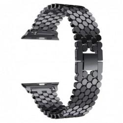 Curea metalica compatibila Apple Watch, 40mm, Negru Lucios