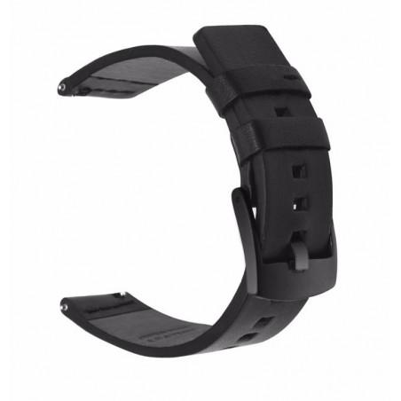 Curea piele compatibila Samsung Gear S3, telescoape Quick Release, 22mm, Negru