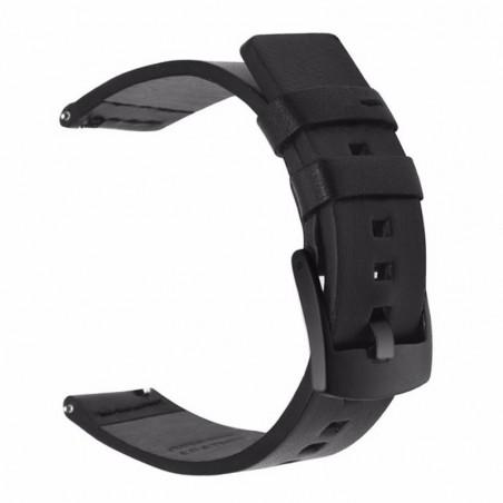 Curea piele naturala compatibila Huawei Watch GT, telescoape Quick Release, 22mm, Negru