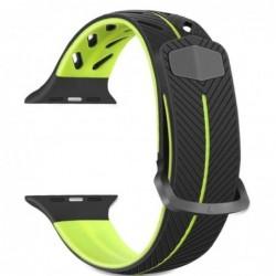 Curea silicon compatibila Apple Watch 42mm, Negru-Verde