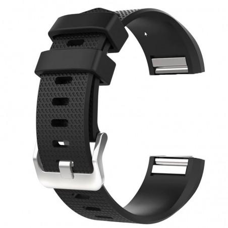 Curea silicon, compatibila Fitbit Charge 2, Negru