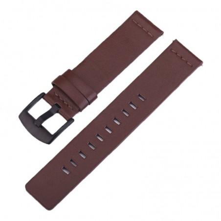 Curea piele naturala, compatibila Samsung Galaxy Watch Active 2, telescoape Quick Release,  Maro