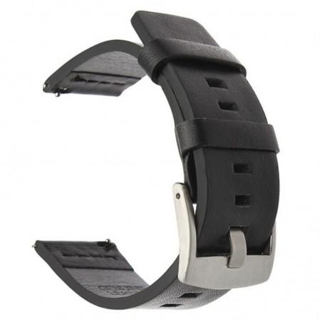 Curea piele naturala, compatibila Samsung Galaxy Watch Active 2, telescoape Quick Release,  Negru/Argintiu