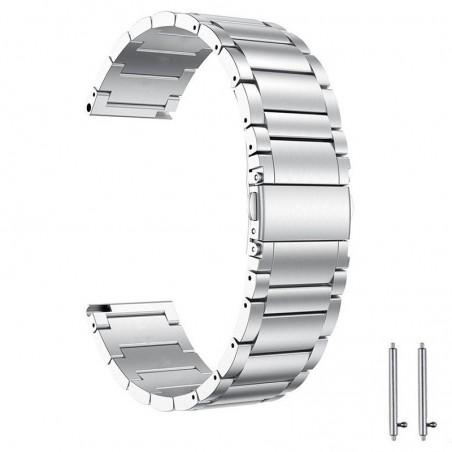 Curea din metal, compatibila Samsung Galaxy Watch Active 2, telescoape Quick Release,  Silver