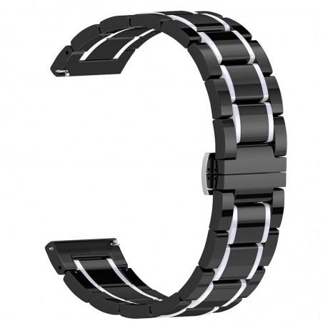 Curea ceramica, compatibila Huawei Watch GT 2 46mm, telescoape Quick Release, 22mm, Negru/Argintiu