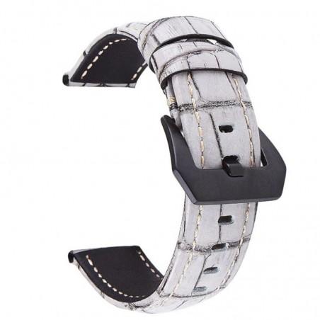 Curea din piele naturala, compatibila Huawei Watch GT 2 46mm, telescoape normale, 22mm, Alb/Gri