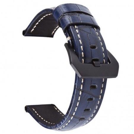 Curea din piele naturala, compatibila Huawei Watch GT 2 46mm, telescoape normale, 22mm, Albastru