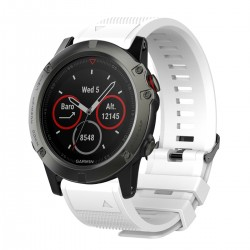 Curea silicon compatibila Garmin Fenix 5X, 26mm, Alb