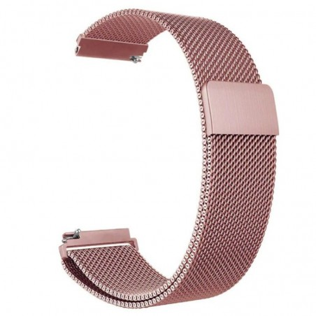 Curea tip Milanese Loop, compatibila Samsung Galaxy Watch Active 2, telescoape Quick Release,  Pink Rose, Size S