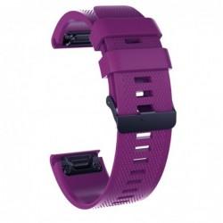 Curea silicon compatibila Garmin Fenix 5, 22mm, Purple/Black