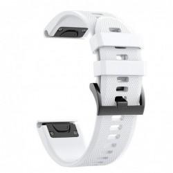 Curea silicon compatibila Garmin Fenix 6, 22mm, Alb