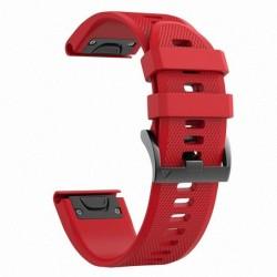 Curea silicon compatibila Garmin Fenix 6X, 26mm, Rosu