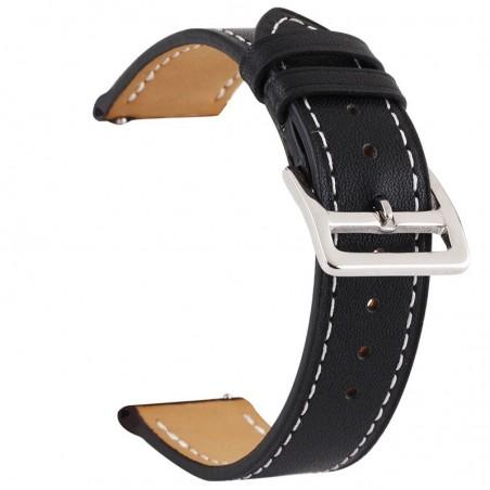 Curea piele, compatibila cu Huawei Watch GT 2 46mm, Telescoape QR, 22mm, Black Night