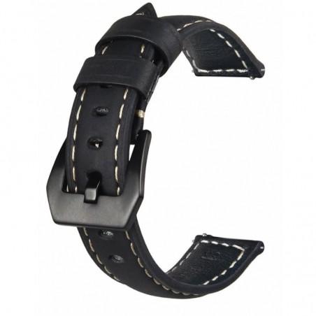 Curea piele compatibila Samsung Galaxy Watch3, 45mm, telescoape Quick Release, 22mm, Negru