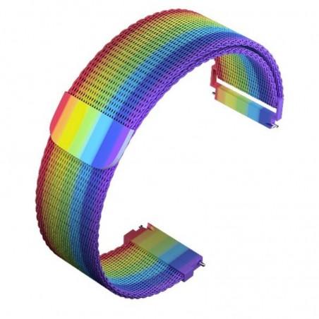 Curea otel, Milanese Loop, compatibila Samsung Galaxy Watch3 40mm, telescoape QR, Rainbow