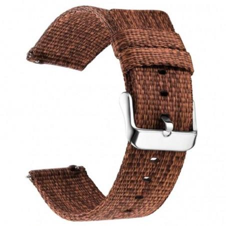 Curea material textil, compatibila cu Fitbit Versa 2, Telescoape QR, 22mm, Pecan Brown