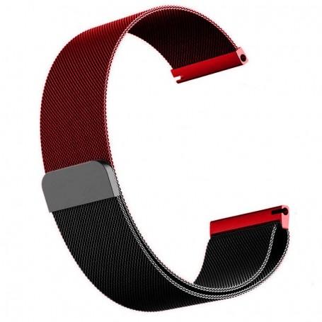 Curea otel, Milanese Loop Slim, compatibila cu Honor Magic Watch 2 46mm, Telescoape QR, 22mm, Black Wine